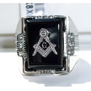Other - STAINLESS STEEL Men's Masonic Black Agate CZ Ring